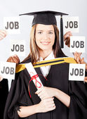 Graduate with job offers — Stock Photo