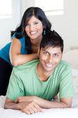 Joyful young indian couple — Stock Photo