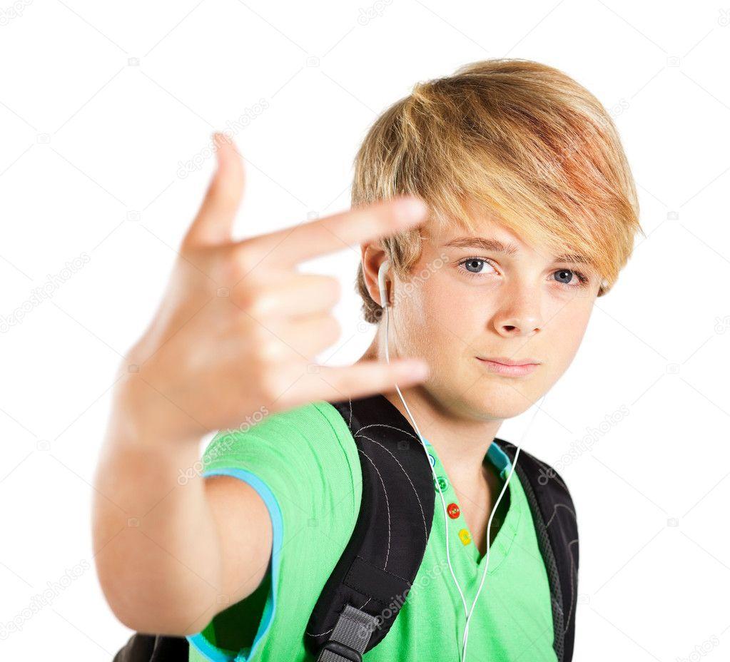 teenboy Teen boy giving hand sign — Stock Photo #10422667