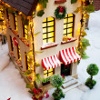 Toy Christmas house — Stock Photo