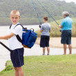 Stock Photo: Happy little boy fishing by lake