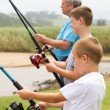 Fishing with grandpa — Stock Photo