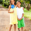 Sister and brother outdoors — Stock Photo