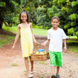 Kids carrying basket of apple — Stock Photo #10516452