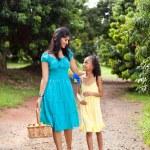 Mother and daughter walking in fruit garden — Stock Photo #10516499
