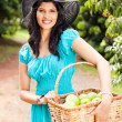 Woman in fruit orchard — Stock Photo