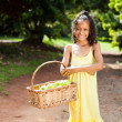 Girl with basket of apple — Stock Photo