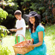 Mother and son picking lychees — Stock Photo