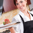 Restaurant waitress — Stock Photo