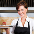 Pretty restaurant waitress — Stock Photo