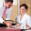 Waiter and customer — Stock Photo
