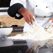Stock Photo: Professional chef making dough