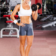 Fitness woman using dumbbell - Stock Photo