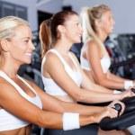 groep vrouwen fietsen in de sportschool — Stockfoto