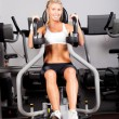 Young woman workout with peck deck machine - Stock Photo