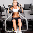 Stock Photo: Young womworkout with peck deck machine