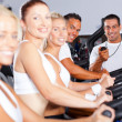 Stock Photo: Group of fitness and trainer