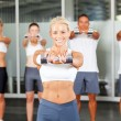 Group aerobics in gym — Stock Photo