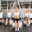 Stock Photo: Fitness exercise on gymnastic balls