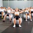 Foto Stock: Group of workout with fitness balls