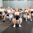 Group of workout with fitness balls — Stock Photo