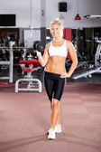 Fitness woman doing workout with dumbbell — Stock Photo
