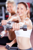 Dumbbell exercise — Stock Photo