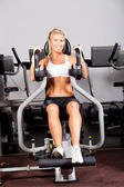 Young woman workout with peck deck machine — Stock Photo