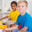 Kindergarten boys in classroom — Stock Photo