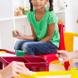 Stock Photo: Preschool girl in classroom