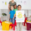 Kindergarten boy in classroom — Stock fotografie