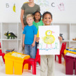 Kindergarten boy in classroom — Stockfoto
