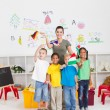 Preschool kids and teacher - Stok fotoğraf