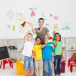 Stock Photo: Preschool kids and teacher
