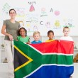 South african kindergarten teahcer and students - Zdjcie stockowe