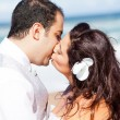 Closeup of bride and groom kissing — Stock fotografie