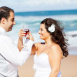 Groom and bride drinking champagne on beach — Stock Photo