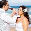 Newlywed couple drinking champagne — Stock Photo