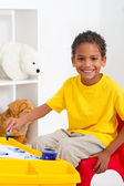 African american preschool boy in classroom — Stock Photo
