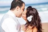 Closeup of bride and groom kissing — Stock Photo