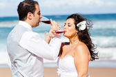Newlywed couple drinking champagne — Stock Photo