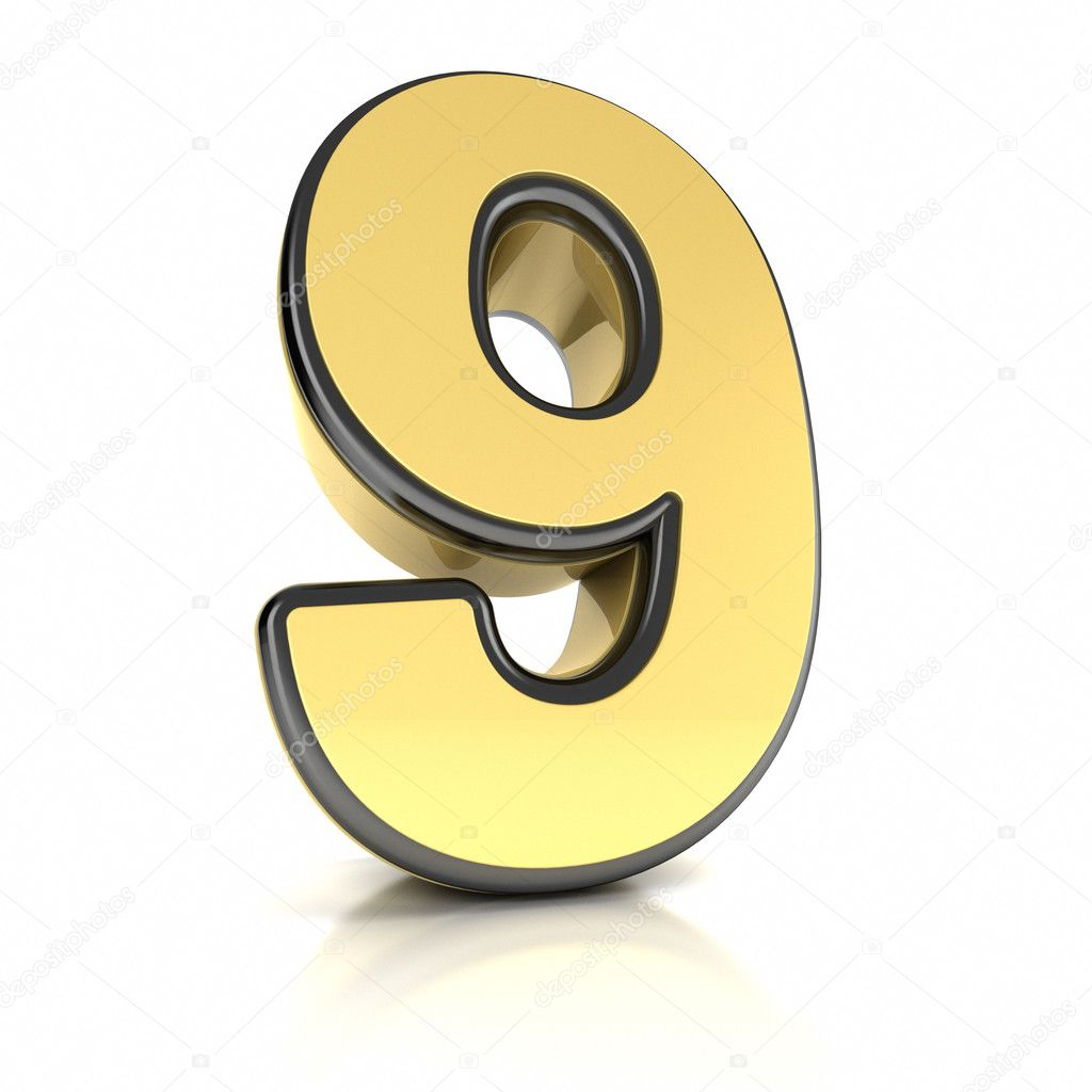 The number nine as a brushed chrome object over white — Stock Photo #10243870
