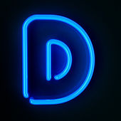 Neon Sign Letter D — Stock Photo