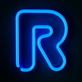 Neon Sign Letter R — Stock Photo