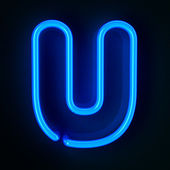 Neon Sign Letter U — Stock Photo