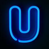 Neon Sign Letter U — Stock Photo