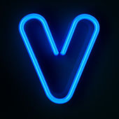 Neon Sign Letter V — Stock Photo