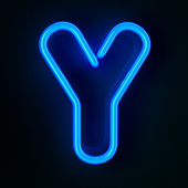 Neon Sign Letter Y — Stock Photo