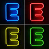 Neon Sign Letter E — Stock Photo