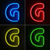 Neon Sign Letter G — Stock Photo